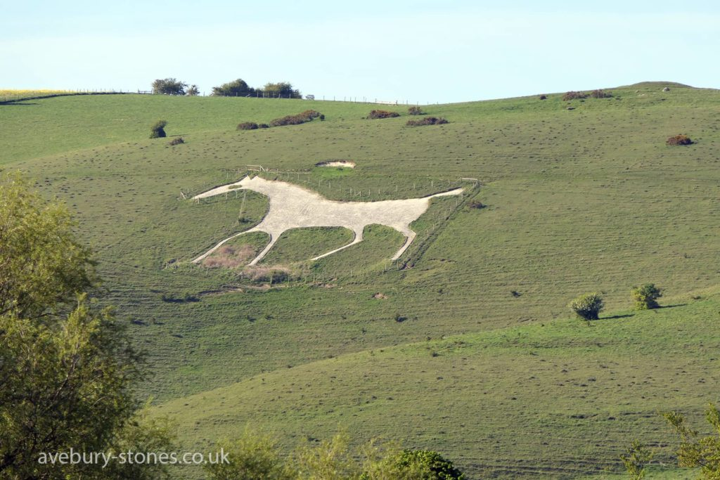 One of Wiltshire's white horses, carved into the hillside